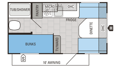 2016 Jay Flight SLX 154BH Floor Plan