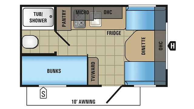 2018 Jay Flight SLX 154BH Floor Plan