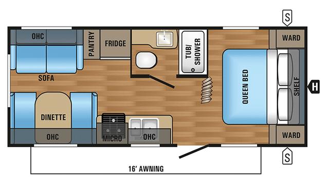 2018 Jay Flight SLX 212QB Floor Plan