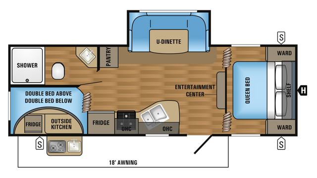 2018 Jay Flight SLX 242BHS Floor Plan