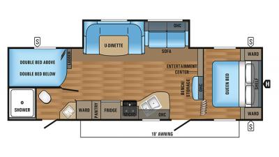 2018 Jay Flight SLX 287BHS Floor Plan