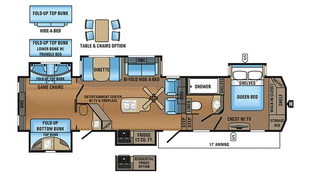 2018 North Point 375BHFS Floor Plan