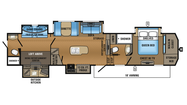 2018 North Point 379DBFS Floor Plan