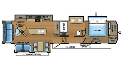 2018 North Point 381DLQS Floor Plan