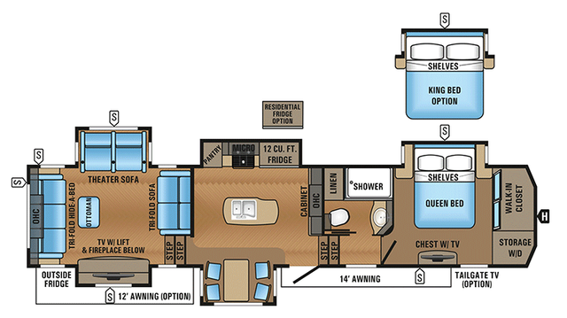 2018 North Point 387RDFS Floor Plan