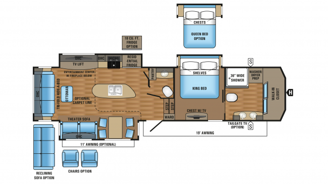 2018 Pinnacle 36fbts Floor Plan