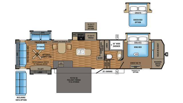 2018 Pinnacle 39SPQS Floor Plan