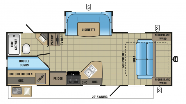 2018 White Hawk 24MBH Floor Plan