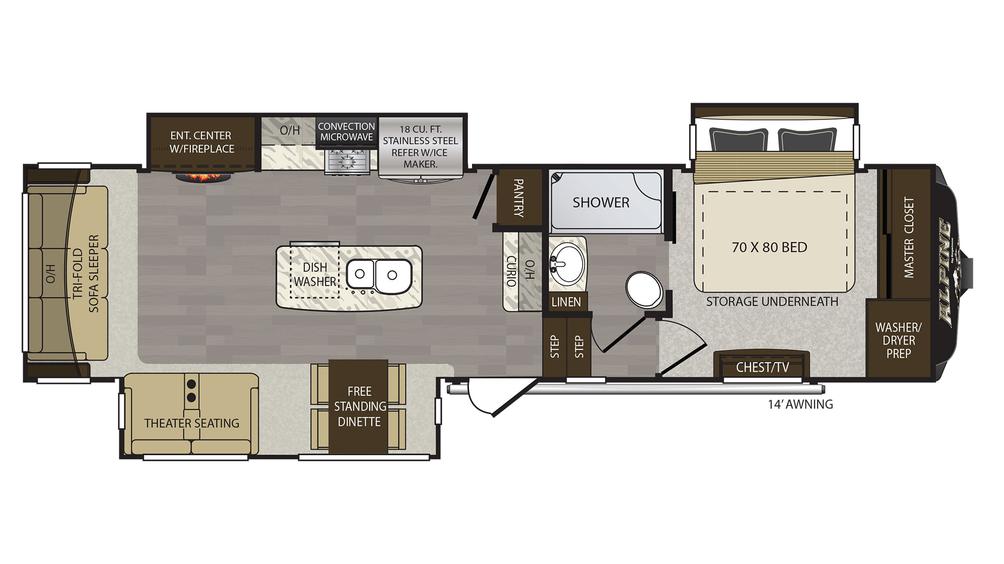 2018 Alpine 3401RS Floor Plan
