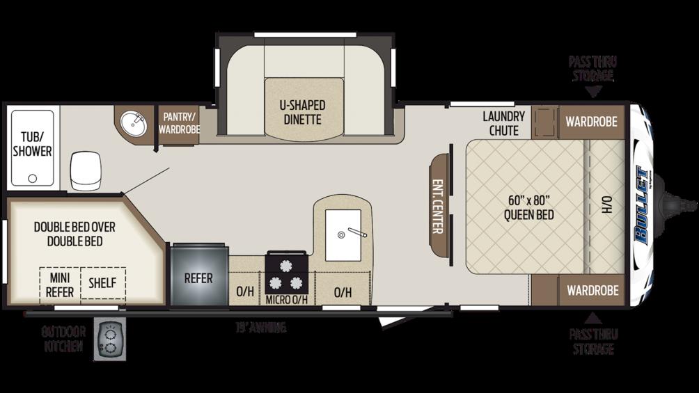 2019 Bullet 243BHS Floor Plan Img