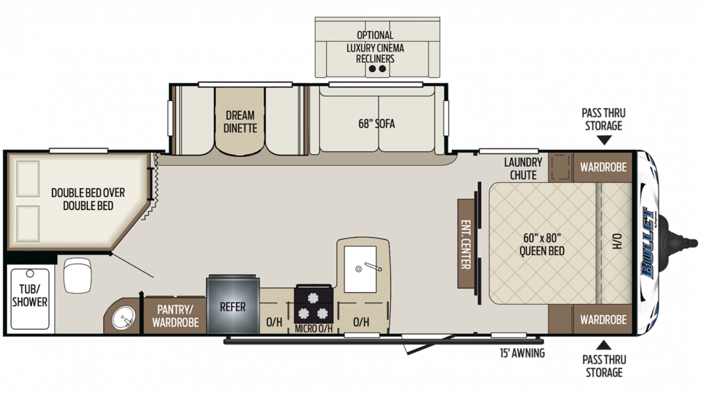 Keystone Bullet 273BHS Travel Trailer Floor Plan
