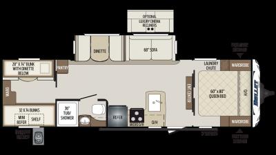 2019 Bullet 287QBS Floor Plan Img