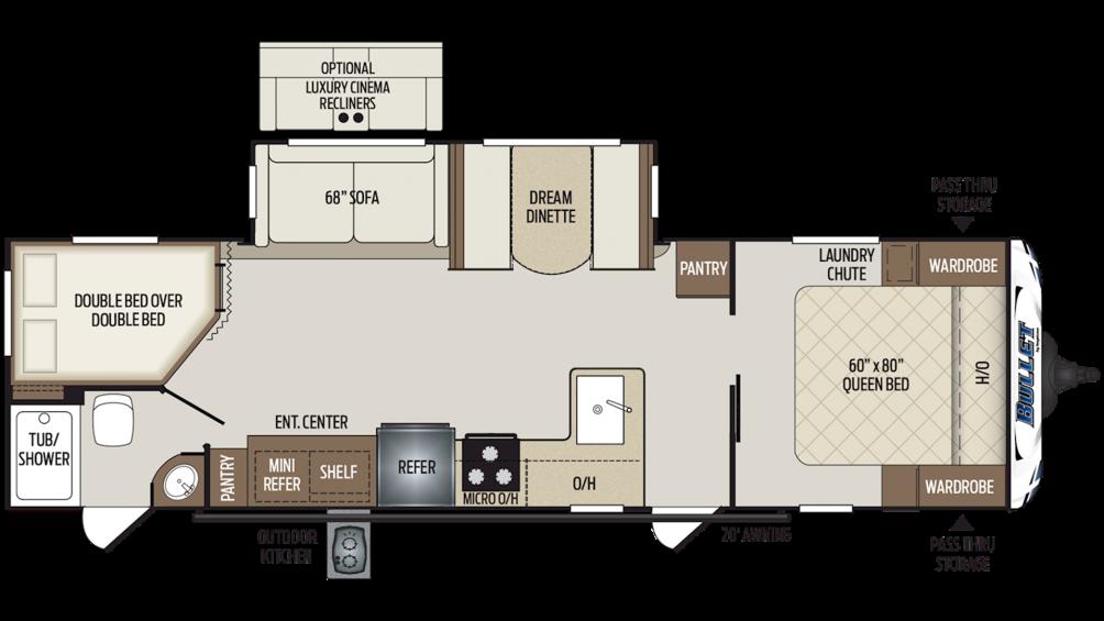 2019 Bullet 290BHS Floor Plan Img