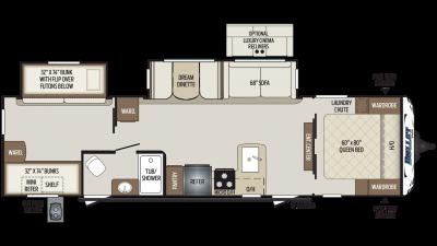 2019 Bullet 308BHS Floor Plan Img
