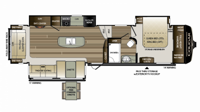 2019 Cougar 344MKS Floor Plan Img