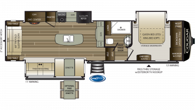 2019 Cougar 315RLS Floor Plan Img