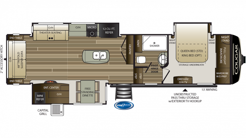 2019 Cougar 338RLK Floor Plan Img