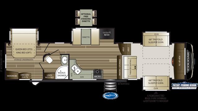 2019 Cougar 367FLS Floor Plan Img