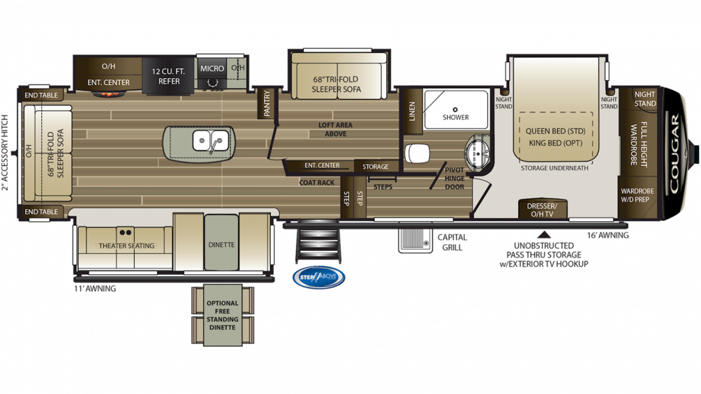 2019 Cougar 368MBI Floor Plan Img