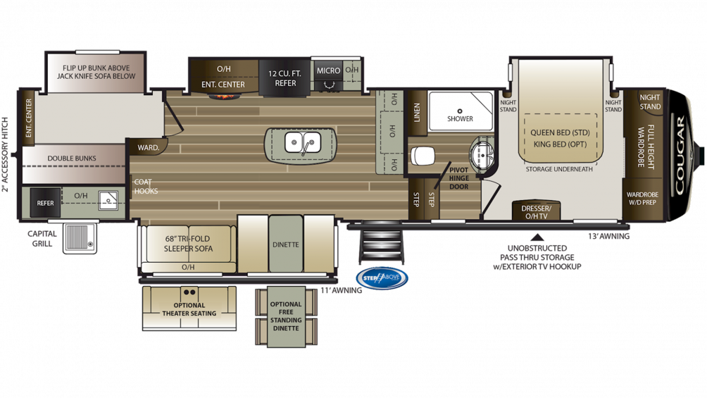 2019 Cougar 369BHS Floor Plan Img