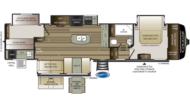 2019 Cougar 369BHS Floor Plan
