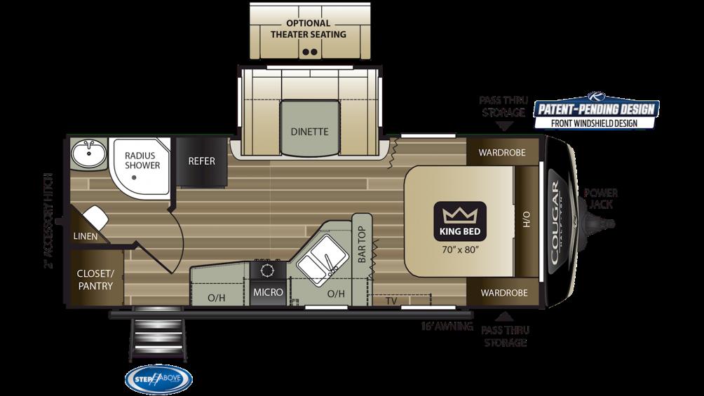 2019 Cougar Half Ton 22RBS Floor Plan Img