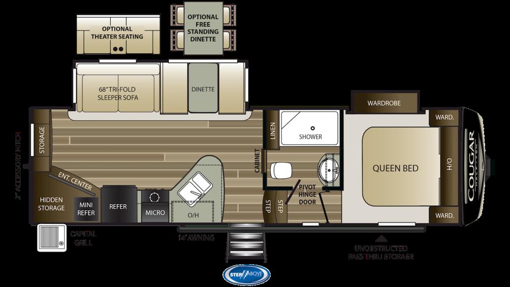 2019 Cougar Half Ton 25RES Floor Plan Img