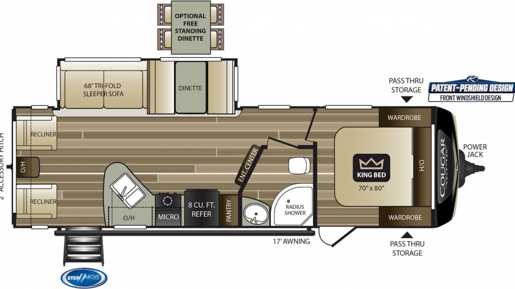 2019 Cougar Half Ton 27SAB Floor Plan Img