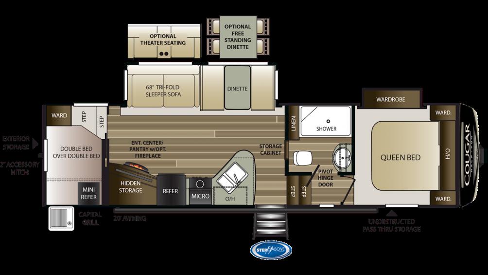 2019 Cougar Half Ton 29RDB Floor Plan Img