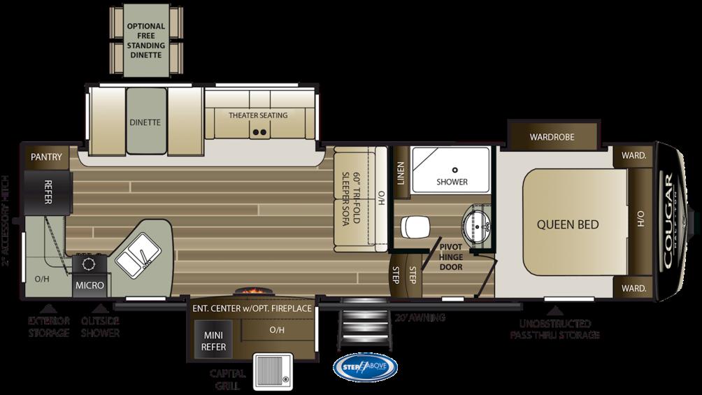 2019 Cougar Half Ton 29RKS Floor Plan Img