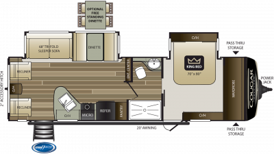 2019 Cougar Half Ton 29RLD Floor Plan Img