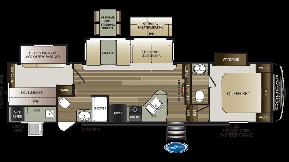 2019 Cougar Half Ton 32BHS Floor Plan Img