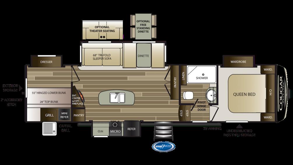 2019 Cougar Half Ton 32DBH Floor Plan Img