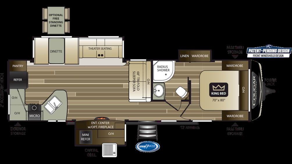 2019 Cougar Half Ton 33MLS Floor Plan Img