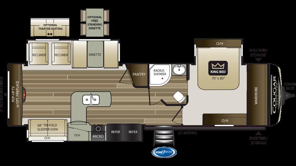 2019 Cougar Half Ton 33SAB Floor Plan Img