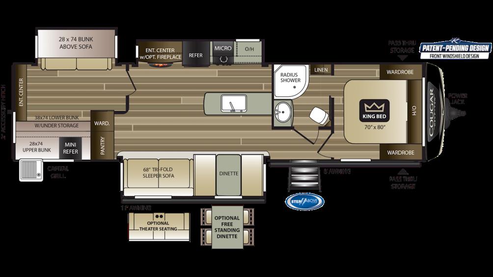 2019 Cougar Half Ton 34TSB Floor Plan Img