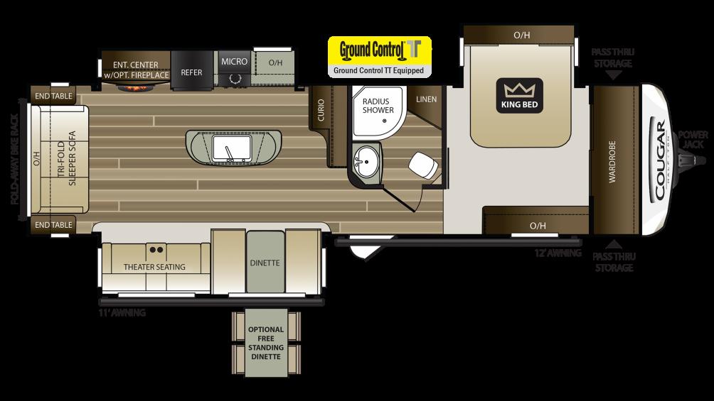 2019 Cougar Half Ton 27RLS Floor Plan Img