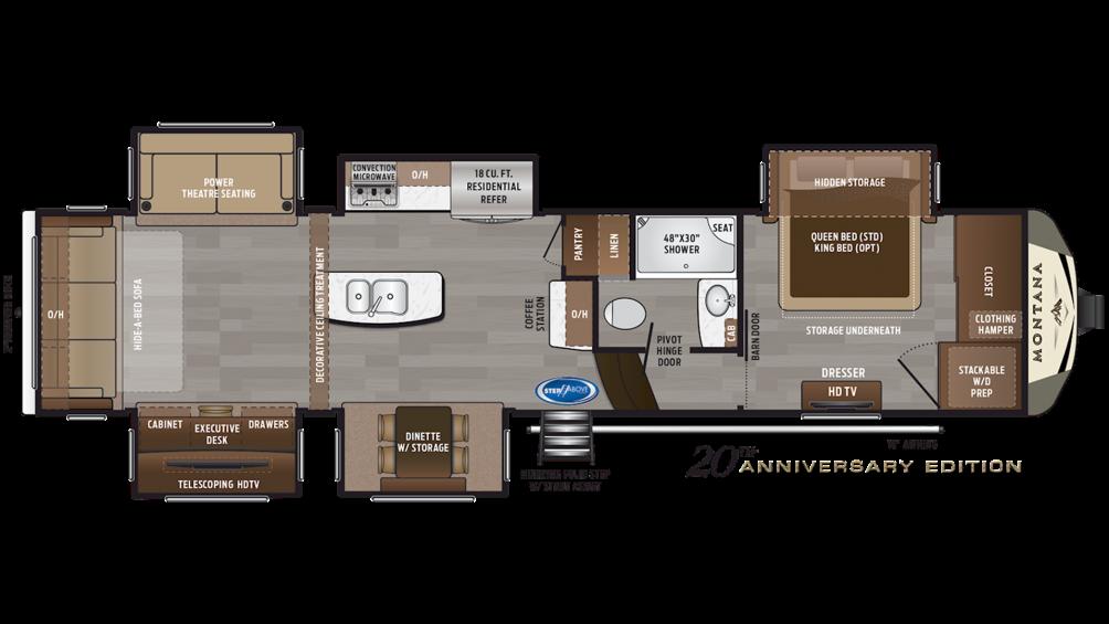 2019 Montana 3561RL Floor Plan Img