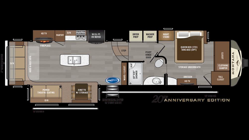 2019 Montana 3720RL Floor Plan Img