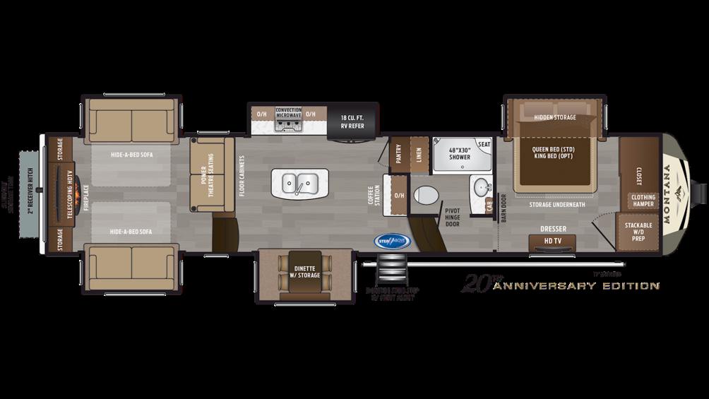 2019 Montana 3790RD Floor Plan Img