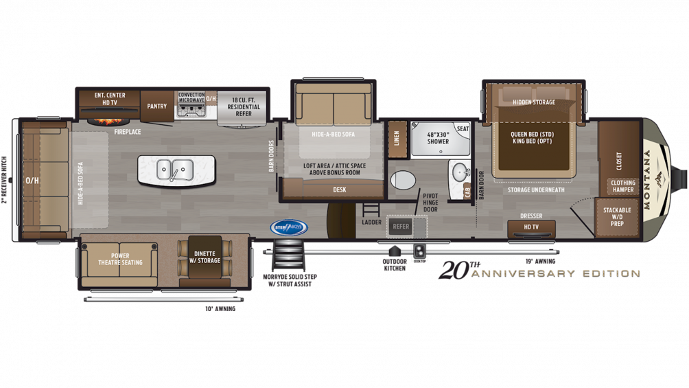 2019 Montana 3855BR Floor Plan Img