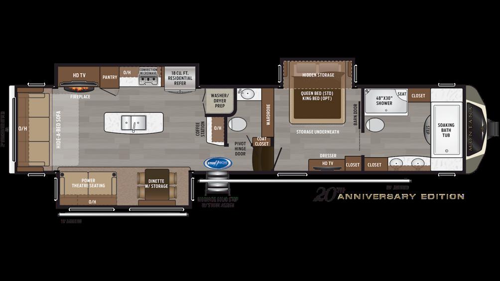 2019 Montana 3921FB Floor Plan Img