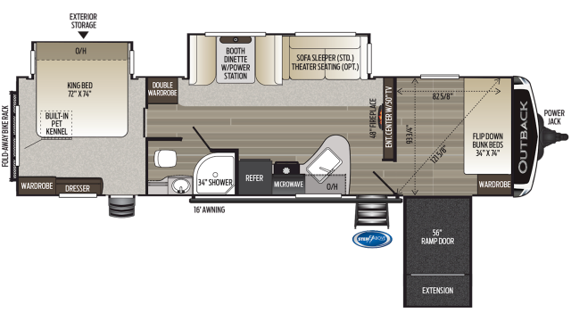 2019 Outback 324CG Floor Plan Img