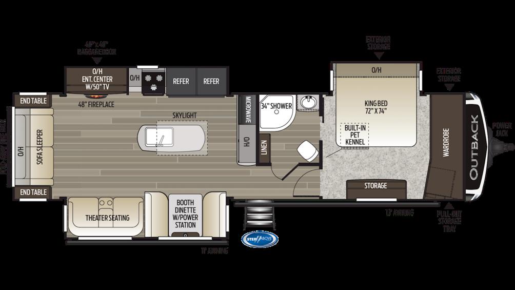 2019 Outback 328RL Floor Plan Img