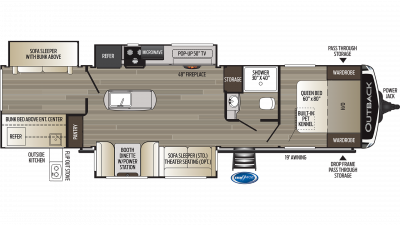 2019 Outback 340BH Floor Plan Img