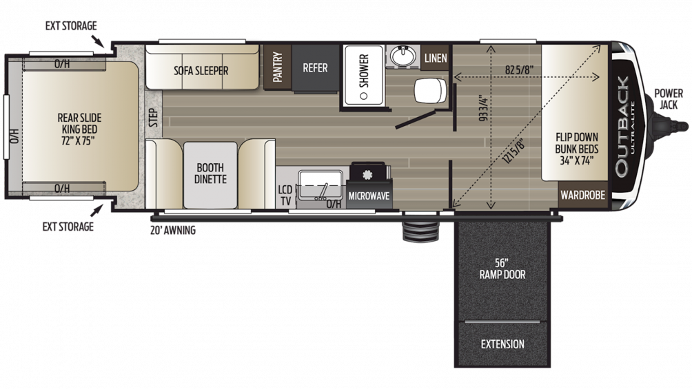2019 Outback Ultra Lite 240URS Floor Plan Img