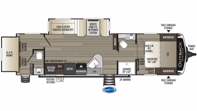 2019 Outback Ultra Lite 301UBH Floor Plan Img