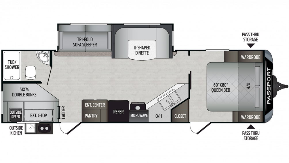 2019 Passport GT Series 2820BH Floor Plan Img