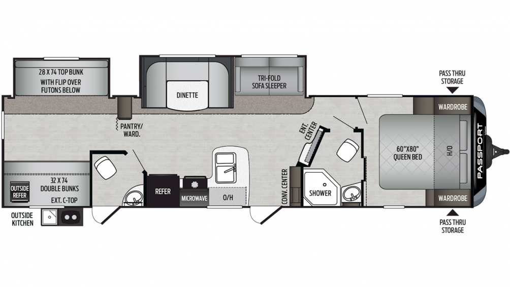 2019 Passport GT Series 3351BH Floor Plan Img