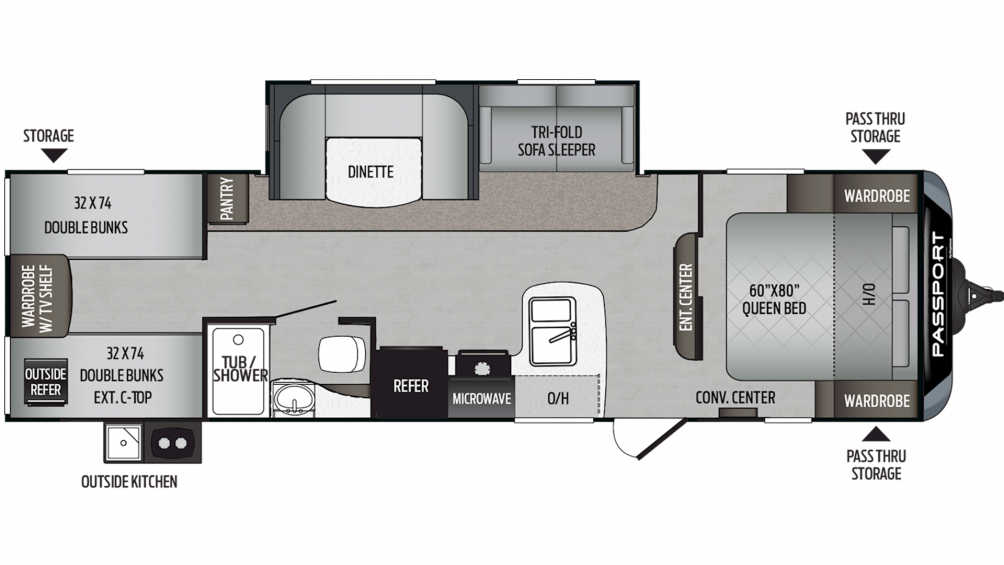 2019 Passport SL Series 292BH Floor Plan Img